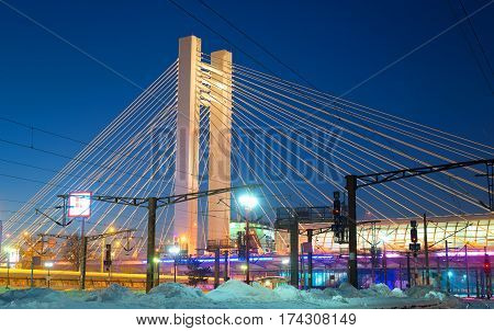 BUCHAREST ROMANIA - January 2016: View on Basarab Bridge with North Railway Station at night in Bucharest Romania