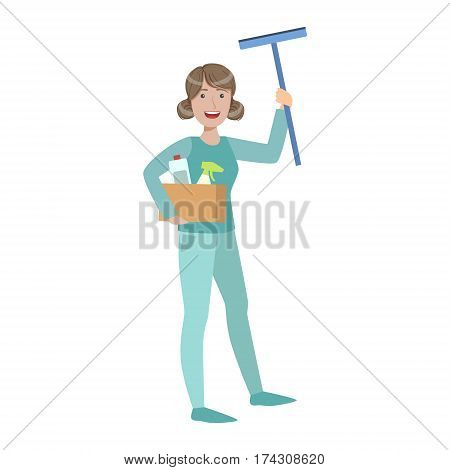Woman With Box Of Household Chemicals And Squeegee, Cartoon Adult Characters Cleaning And Tiding Up. Smiling Person With House Cleanup Tool Doing Up Vector Illustration.