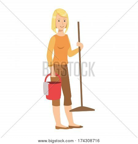 Woman With Bucket And A Mop, Cartoon Adult Characters Cleaning And Tiding Up. Smiling Person With House Cleanup Tool Doing Up Vector Illustration.