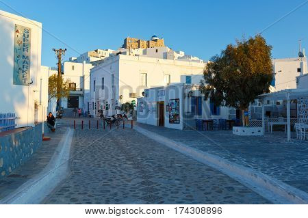 ASTYPALEA, GREECE - FEBRUARY 2, 2017: Restaurants in the main square of Chora on Astypalea island on February 2, 2017.
