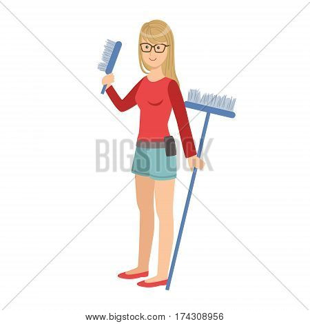Girl With Brush And Broom, Cartoon Adult Characters Cleaning And Tiding Up. Smiling Person With House Cleanup Tool Doing Up Vector Illustration.