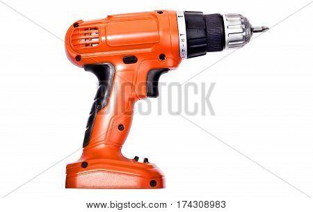 One orange screwdriver on a white background
