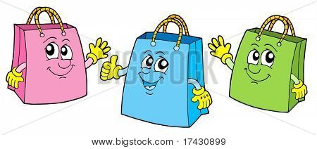 Smiling shopping bags - vector illustration.