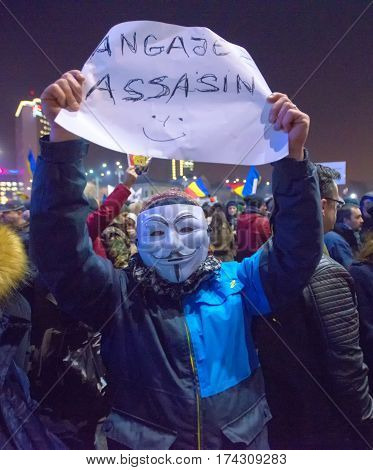 Bucharest Romania - January 2017: Thousand people marched through the Romanian capital on Wednesday night to protest the government's plan to pardon thousands of prisoners.