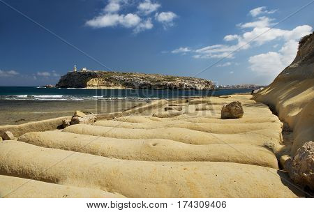 View to St Pawls island in Malta on sunny nice day, St Pawls island, Malta, Europe, panoramic view.