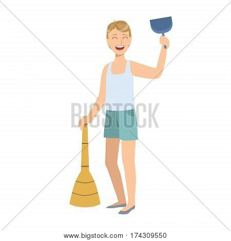 Man In Sleeveless Top And Shorts With Broom And Duster, Cartoon Adult Characters Cleaning And Tiding Up. Smiling Person With House Cleanup Tool Doing Up Vector Illustration.