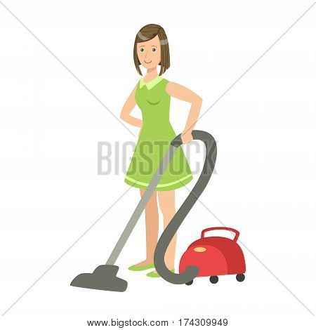 Woman Cleaning The Floor With Vacuum Cleaner, Cartoon Adult Characters Cleaning And Tiding Up. Smiling Person With House Cleanup Tool Doing Up Vector Illustration.