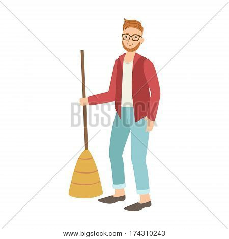 Man With Broom Sweeping The Floor, Cartoon Adult Characters Cleaning And Tiding Up. Smiling Person With House Cleanup Tool Doing Up Vector Illustration.