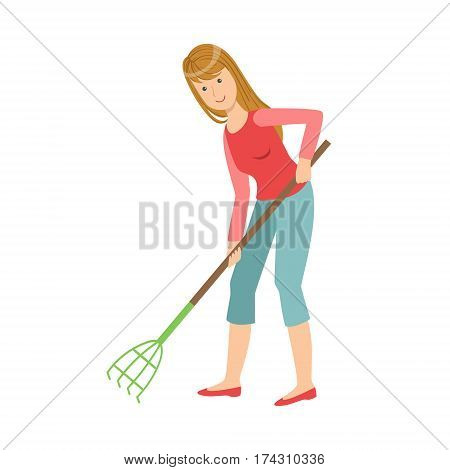 Woman With Rake Gardening, Cartoon Adult Characters Cleaning And Tiding Up. Smiling Person With House Cleanup Tool Doing Up Vector Illustration.