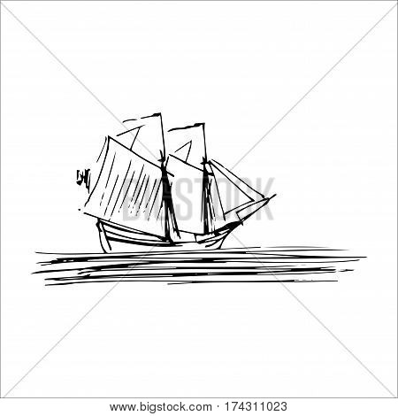 Vector illustration of sailing ship or boat in the sea in ink style. Hand sketched schooner. Marine theme design
