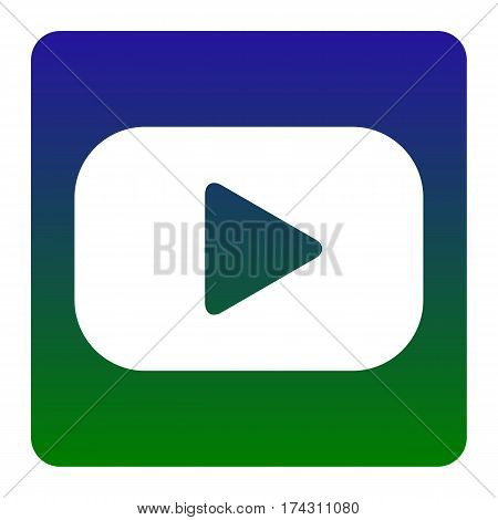 Play button sign. Vector. White icon at green-blue gradient square with rounded corners on white background. Isolated.