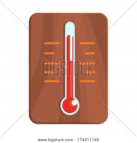 Wall Thermometer Showing High Heat, Part Of Russian Steam House Series Of Flat Funny Cartoon Illustrations. Sauna Washing And Russian Hygiene Culture Related Isolated Drawing.