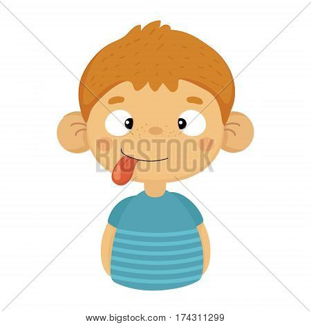 Silly Cute Small Boy With Big Ears And Tongue Out In Blue T-shirt, Emoji Portrait Of A Male Child With Emotional Facial Expression. Emoticon With Little Kid Cartoon Character In Childish Style Isolated Icon.