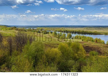 View of the Oka river from the high bank near Konstantinovo village Russia