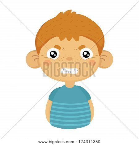 Angry Cute Small Boy With Big Ears In Blue T-shirt, Emoji Portrait Of A Male Child With Emotional Facial Expression. Emoticon With Little Kid Cartoon Character In Childish Style Isolated Icon.