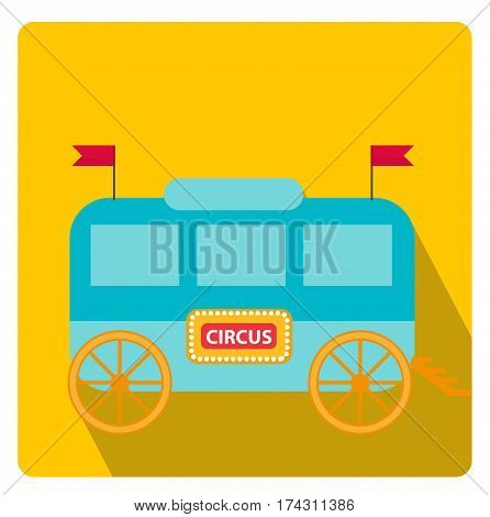 Circus trailer, wagon icon flat style with long shadows, isolated on white background. Vector illustration