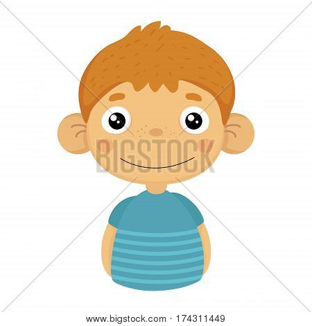 Smiling Content Cute Small Boy With Big Ears In Blue T-shirt, Emoji Portrait Of A Male Child With Emotional Facial Expression. Emoticon With Little Kid Cartoon Character In Childish Style Isolated Icon.