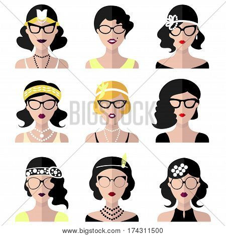 Vector set of different retro flapper girls in different shapes vintage glasses in trendy flat style