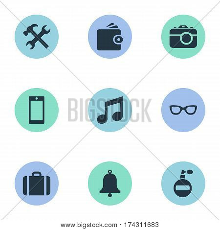 Set Of 9 Simple  Icons. Can Be Found Such Elements As Fragrance, Eyeglasses, Mobile Phone And Other.