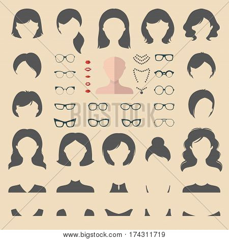 Big vector set of dress up constructor with different woman haircuts, glasses, lips, wear, jewellery in trendy flat style. Female faces icon creator.