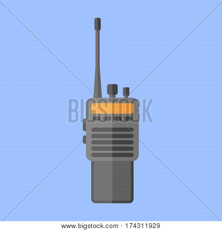 Police radio transceiver set isolated on blue background. Flat style icon. Vector illustration.