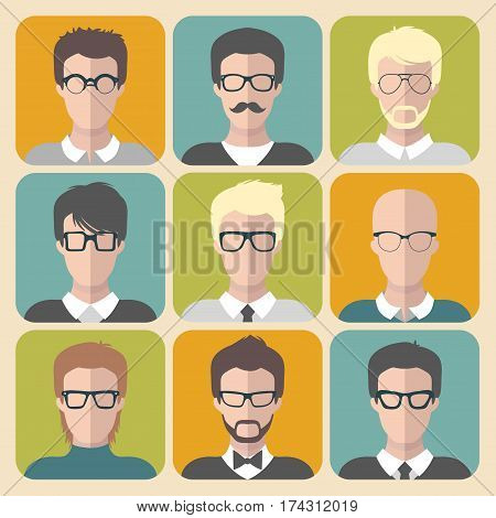 Vector set of different man app icons in glasses in flat style