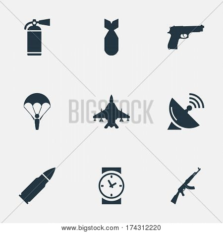 Set Of 9 Simple Military Icons. Can Be Found Such Elements As Extinguisher, Paratrooper, Signal Receiver And Other.