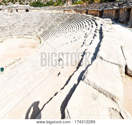 Necropolis And Indigenous Tomb Stone Archeology Theater  In  Myra Turkey Europe Old Roman