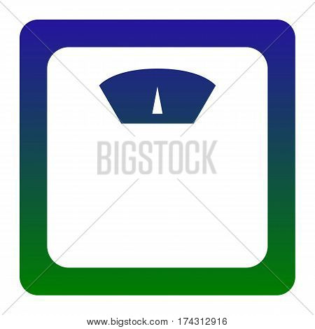 Bathroom scale sign. Vector. White icon at green-blue gradient square with rounded corners on white background. Isolated.