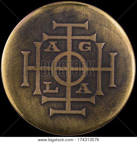 AGLA is a magical name of God. tetragrammaton