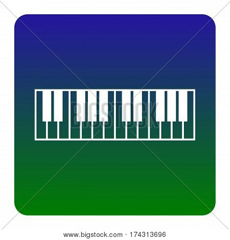 Piano Keyboard sign. Vector. White icon at green-blue gradient square with rounded corners on white background. Isolated.
