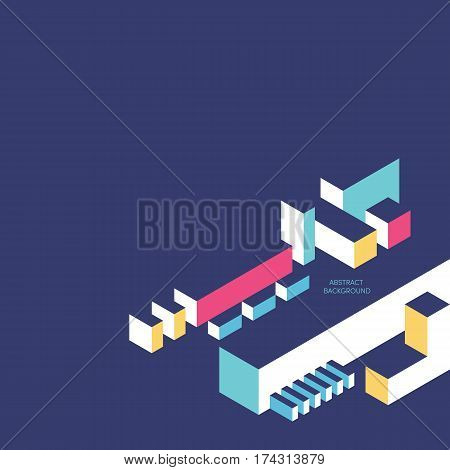 Abstract geometric composition background modern vintage art design style and futurism. Colorful isometric square and rectangle shapes design element isolated on blue background vector illustration