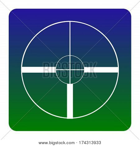 Sight sign illustration. Vector. White icon at green-blue gradient square with rounded corners on white background. Isolated.
