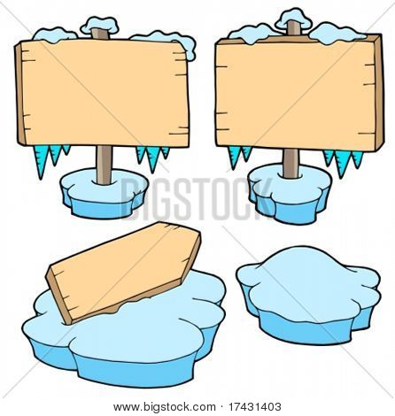 Icy wooden signs - vector illustration.