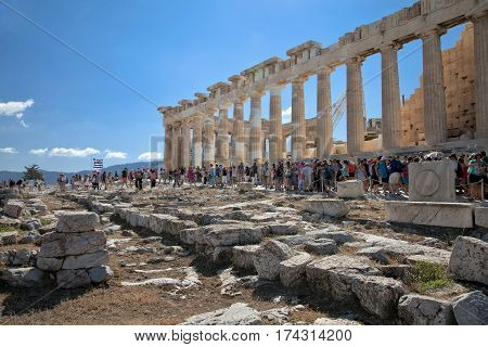 Athens Greece - August 31 2014: Many people overlook Athens from the platform of the Parthenon On The Acropolis Greece