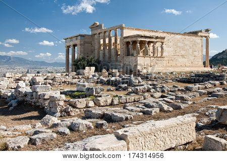 Athens Greece - August 31 2014: The Doric temple Parthenon at Acropolis hill Athens Greece
