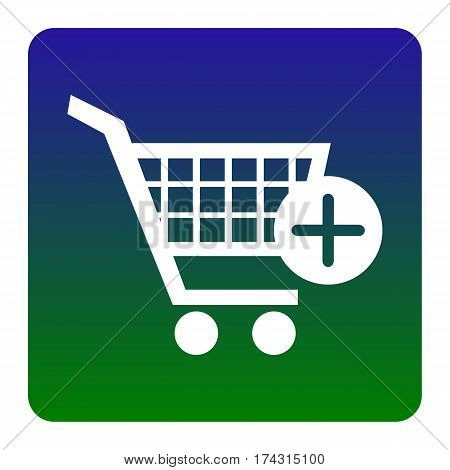 Shopping Cart with add Mark sign. Vector. White icon at green-blue gradient square with rounded corners on white background. Isolated.