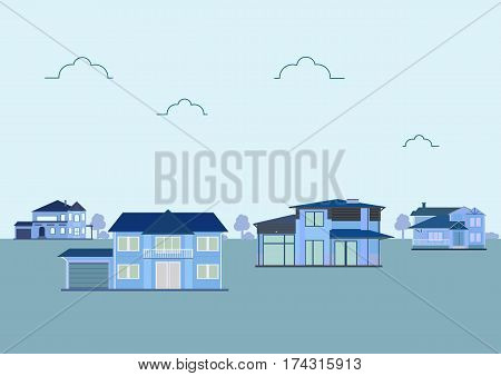 Cute houses for sale or rent in flat building style. background with blue pastel colors. country views with trees and shrubs. real estate purchase. vector illustration