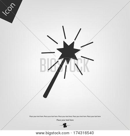 Magic wand vector icon, gray background. Vector illustration.
