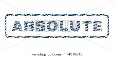 Absolute text textile seal stamp watermark. Blue jeans fabric vectorized texture. Vector tag inside rounded rectangular banner. Rubber sign with fiber textile structure.