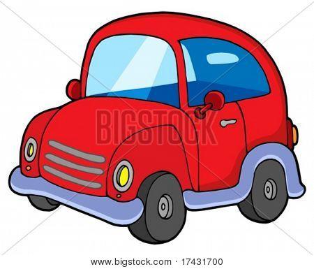 Cute red car - vector illustration.