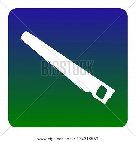 Saw simple sign. Vector. White icon at green-blue gradient square with rounded corners on white background. Isolated.