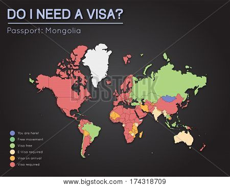 Visas Information For Mongolia Passport Holders. Year 2017. World Map Infographics Showing Visa Requ