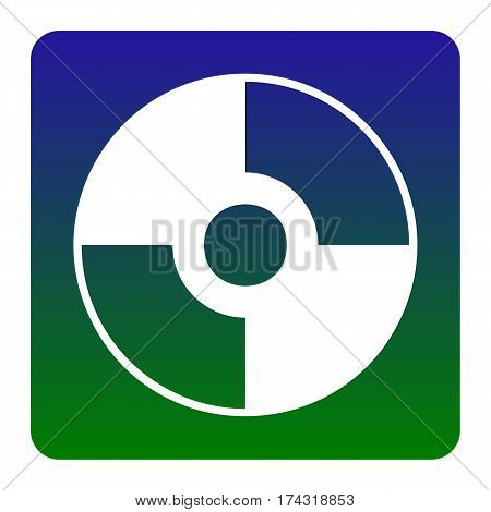 Vector CD or DVD sign. Vector. White icon at green-blue gradient square with rounded corners on white background. Isolated.