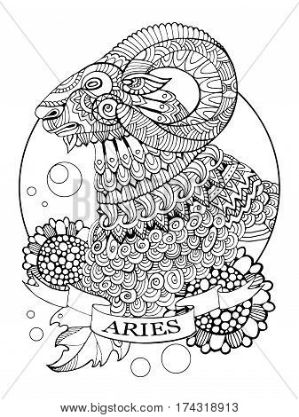 Aries zodiac sign coloring book vector illustration. Tattoo stencil. Black and white lines. Lace pattern