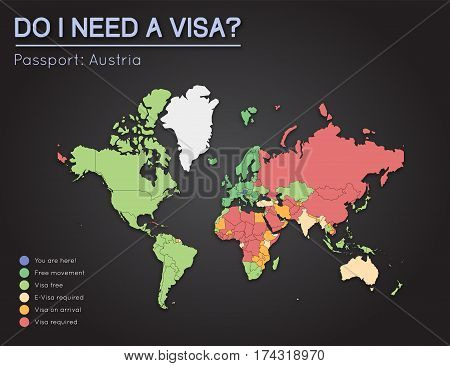 Visas Information For Republic Of Austria Passport Holders. Year 2017. World Map Infographics Showin
