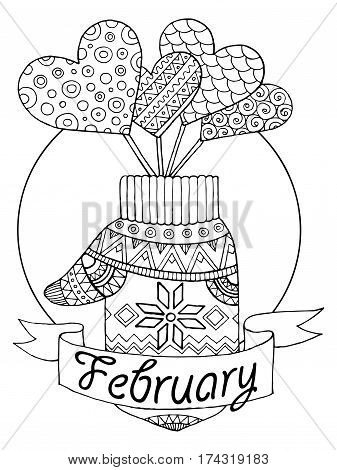 Mitten and hearts vector illustration for calendar. February month metaphor