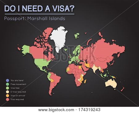 Visas Information For Republic Of The Marshall Islands Passport Holders. Year 2017. World Map Infogr