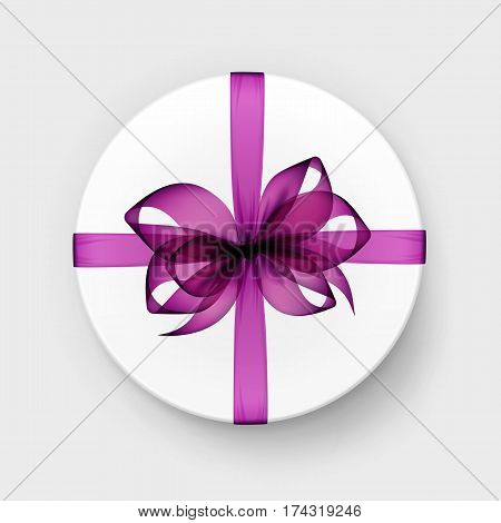 Vector White Round Gift Box with Transparent Pink Magenta Purple Bow and Ribbon Top View Close up Isolated on Background