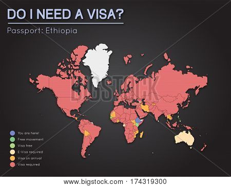 Visas Information For Federal Democratic Republic Of Ethiopia Passport Holders. Year 2017. World Map